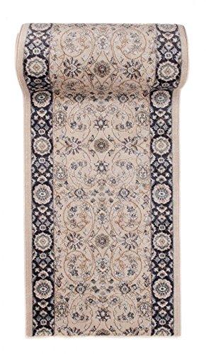 Tapis de Couloir Beige Noir Oriental - Au Mètre - Décoration Parfaite pour: Entrée Salle de Séjour Cuisine ou Couloir - Collection AYLA de Carpeto - S L XL XXL - 100 x 400 cm