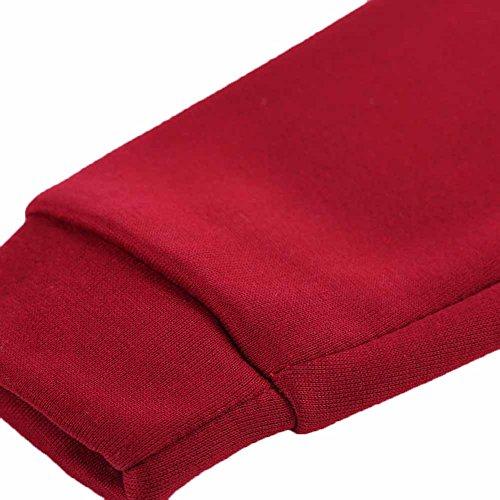 La Cabina Sweat à Capuche Femmes Section Mid Slim Manches Longues Tops Vêtement Sweat-shirt Plus Velours Casual et Sport pour Hiver Chaud Rouge