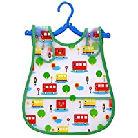 LARGE Waterproof Baby Bibs Better Snap Buttons Bib Easily Wipes Clean Gift Set Sizes for Girls and Boys Feeding Ages 18-48 months car bus