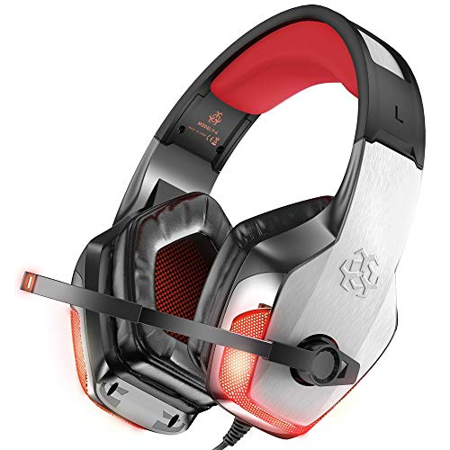 BENGOO V-4 Gaming-Headset für Xbox One, PS4, PC, Controller, Geräuschunterdrückung, Over-Ear-Kopfhörer mit Mikrofon, LED-Licht, Bass-Surround-SoftMemory-Ohrenschützer für Mac Nintendo Switch – Rot (V Solid Gear Metal Pc)