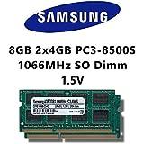 Samsung 8 GB DDR3 1066 mhz Dual Channel Kit (2 x 4GB) (PC3 8500S) SO DIMM Laptop Memory Laptop Memory RAM