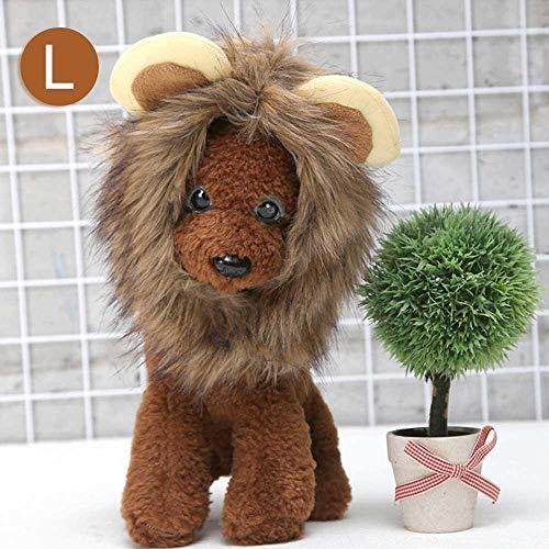 AOLVO Löwenmähne Perücke für Katze und Hunde, Löwenmähne, Kostüm Katze Kopfbedeckung mit Ohren, Katze Löwenmähne Kostüm Verstellbar waschbar Haustier Cosplay Kostüm Party Aktivität Haustier Geschenk