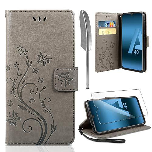 Samsung Galaxy A40 Flip Hülle+ HD Schutzfolie, Galaxy A40 Wallet Case Handyhülle PU Leder Tasche Case Kartensteckplätzen Schutzhülle für Samsung Galaxy A40 Grau ()