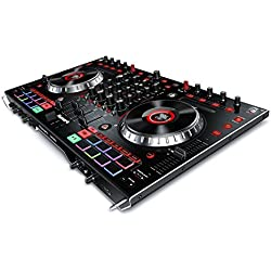 """Numark NS6II - Contrôleur DJ 4 Voies pour Serato DJ (Inclus) avec 2 Sorties USB, 2 Écrans Couleur LCD 2"""", Table de Mixage Numérique Autonome, Jog Wheels 6"""", et Pads MPC"""
