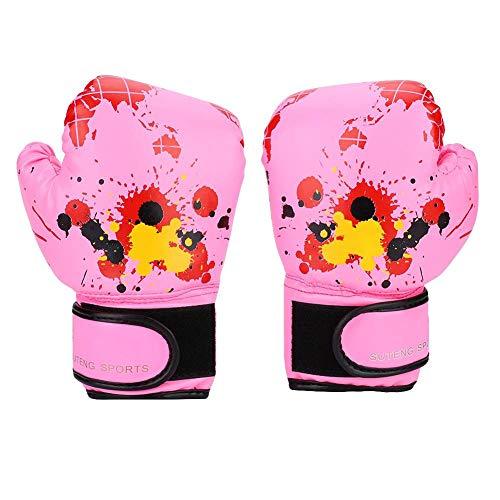 Tbest Boxhandschuhe für Kinder, Trainingshandschuhe, MMA Muay Thai, Boxhandschuhe aus Leder, für Kinder von 2 bis 11 Jahren, Rosa