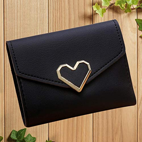 Ruanmeng Novelty Women Simple Short Wallet Hasp Coin Purse Card Holders Handtasche(None Black) -