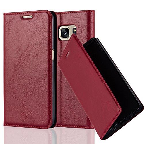 Cadorabo Hülle für Samsung Galaxy S7 Edge - Hülle in Apfel ROT – Handyhülle mit Magnetverschluss, Standfunktion und Kartenfach - Case Cover Schutzhülle Etui Tasche Book Klapp Style