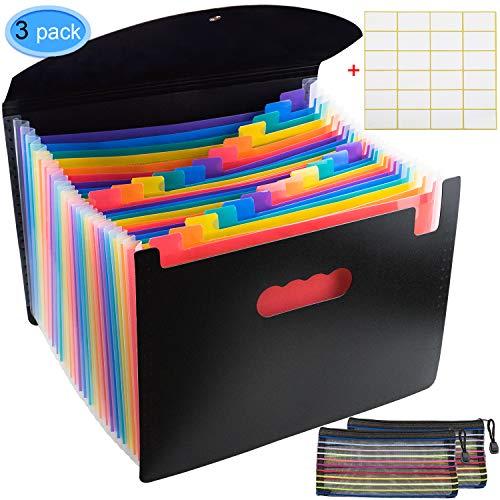 EAONE 24 Taschen Erweitern des Dateiordners Kunststoff-Akkordeonportemonnaie A4-Briefpapierformat Document Organizer Elastische Schnalle mit Verschluss und Reißverschluss-Netzbeutel, Rainbow Colors - Akkordeon-datei Monatlich