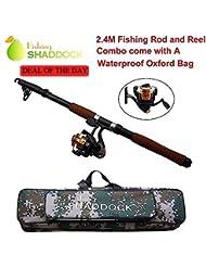 Shaddock Fishing Caña de pescar telescópica portátil, calidad profesional, 2,4m, caña giratoria y carrete de alta velocidad, con bolsa impermeable