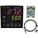 Controlador de temperatura PID Inkbird doble ITC-100VH + K Sensor de + 25 A SSR relé de estado sólido