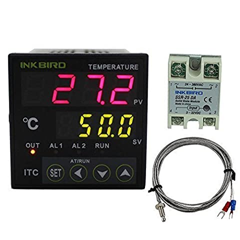 Inkbird Dual Digital PID Temperature Controller ITC-100VH-220 + 25A SSR Solid State Relay + K Sensor Probe