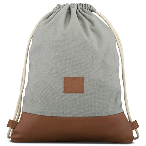 "Turnbeutel Hipster Grau / Braun - JOHNNY URBAN ""Luke\"" Canvas Gymsack Gym Bag Beutel Sportbeutel Rucksack für Damen & Herren mit Innentasche - Aus robustem Baumwoll Canvas und veganem Leder"