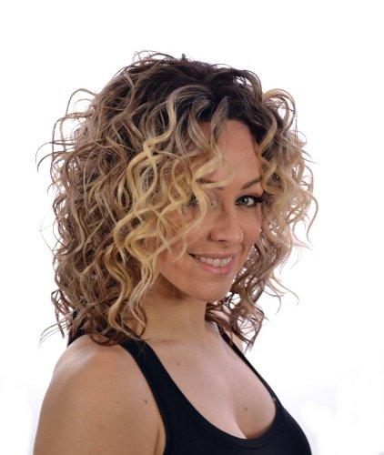 Perruque Lace Front Bouclée | Perruque Bouclée Mélange Blond/Châtain à Trois Tons | Perruque Mi-longue