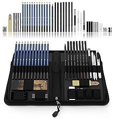 Idea Regalo - Castle Art Supplies- set di 40 matite da disegno e schizzo, contenute in custodia con zip – include grafite, pastelli e matite carboncino e accessori