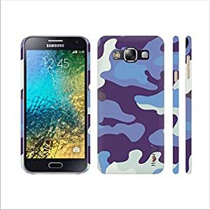 Heartly Army Style Retro Color Armor Hybrid Hard Bumper Back Case Cover For Samsung Galaxy E5 SM-E500F - Navy Blue