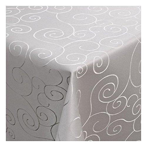 MODERNO Tischdecke Damast mit Saum im Ornamentedesign - Eckig Oval und Rund in Premiumqualität- Größe und Farbe Wählbar Oval 140x190 cm in Silber