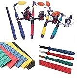 Tradico® 2X Non Slip Heat Shrink Tubing Grip Fish Tackle Rod Racket Wrap Yellow Blue