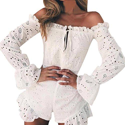 Preisvergleich Produktbild Damenbekleidung,  Malloom Frauen-kalte Schulter-reizvolle Spitze Blumen kurz Rüschen Stickerei-Trainingsanzüge Insgesamt