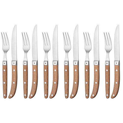 WMF Ranch Steakbesteck-Set 12-teilig Steakgabel Steakmesser, für 6 Personen Spezialklingenstahl geschmiedet, Cromargan Edelstahl rostfrei, matt Eichenholz geölt