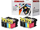 10er Set Tintenpatronen kompatibel zu LC-225XL / LC-227XL Brother DCP-J 4120 DW, MFC-J 4420 DW / MFC-J 4425 DW / MFC-J 4620 DW / MFC-J4625 DW / MFC-J 5320 DW / MFC-J 5620 DW / MFC-J 5625 DW / MFC-J 5720 DW, Schwarz je 20ml, Color (C, Y, M) je 10ml