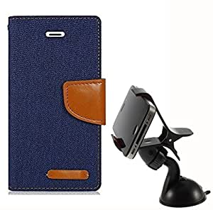 Aart Fancy Wallet Dairy Jeans Flip Case Cover for MotorolaMotoE2 (Black) + Mobile Holder Mount Bracket Holder Stand 360 Degree Rotating (Black) by Aart Store