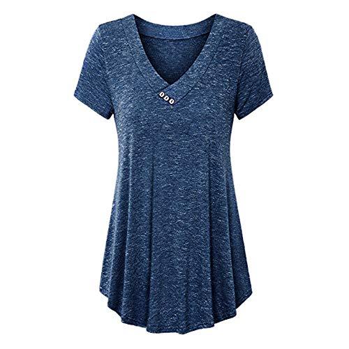 VECDY Damen T-Shirt, Frauen Casual Plus Größe V-Ausschnitt Solide Tops Button Kurzarm Bluse Shirt Mode Oberteil Mode Pullover Tops - Cargo Top Zip Tote
