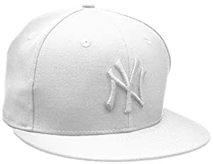 New Era Erwachsene Baseball Cap Mütze Mlb Basic NY Yankees 59Fifty Fitted,weiß,6 7/8inch - 55cm