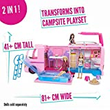 Barbie FBR34 ESTATE Dream Camper Pink Pop Out Caravan for Dolls, Accessories Included, Playset Vehicle