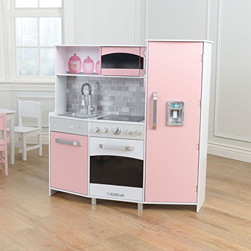 Kidkraft Composite Wood Large Modern Play Kitchen in Pink for Kids 3 Years Up, Cookware and Crockery Accessories Not Included