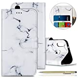 Kompatibel mit Handy Schutzhülle Huawei P20 Lite Handyhülle Bunt Leder Hülle Brieftasche Ledertasche Book Case Klapphülle Handytasche Flip Case Cover,Weiß Marmor