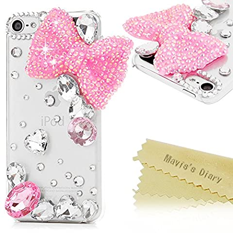Mavis's Diary iPod Touch 6 Case - 3D Handmade Bling Crystal Lovely Pink Bow with Water Drop Gems Shiny Diamonds Glitter Rhinestones Creative Cute Design Clear Hard PC Cover for iPod Touch 6 6th Generation