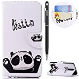WIWJ Huawei Mate 10 Lite Handyhülle,Huawei Mate 10 Lite Hülle, PU Cover Case Leder[Messer Schnalle Gemalt Stand Handy Case] Hülle für Huawei Mate 10 Lite-Hallo Panda