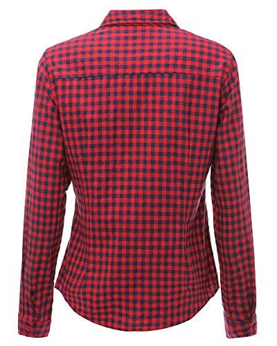StyleDome Femme Chemise Carreaux Coton Col Lapel Manches Longues Casual Slim Shirt Haut Tops Blouse Rouge Bleu