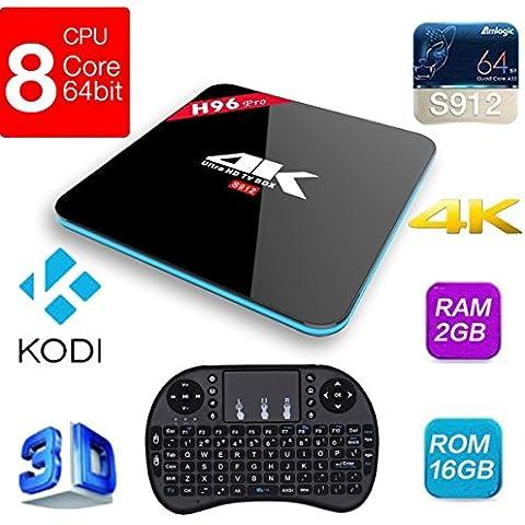 Pinwheel H96 Pro TV Box 64 bits Amlogic S912 2.0GHz Android 6.0 Malvavisco 2G 16GB H.265 4K UHD 3D Kodi 17,0 Pre-instalado Completo Cargado de Adaptador WiFi Bluetooth 4.0 1000m Ethernet 2.4g/5g Streaming Media Player with