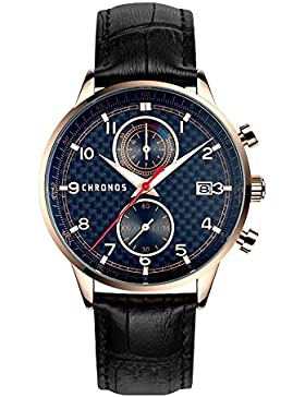 Chronos Herren Uhr Echtlederband