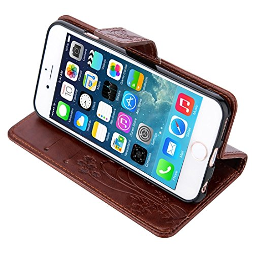 Wkae Case & Cover Pour iPhone 5 &5s &SE Crazy Horse Texture Printing Horizontal Flip en cuir avec support &Card Slots &Wallet &Longe ( Color : Dark Blue ) Coffee