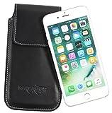 MATADOR iPhone 6 Plus / 6s Plus (5.5) ECHT Leder Hülle Tasche Case Lederhülle Ledertasche Magnetverschluss/Gürtelclip/Gürtelschlaufe Schwarz