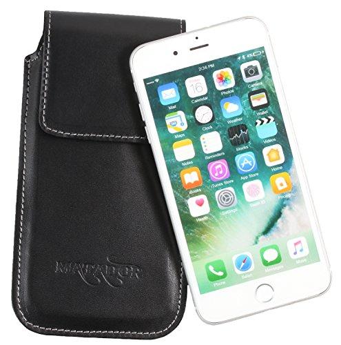 Matador iPhone 6 Plus / 6s Plus (5.5) ECHT Leder Hülle Tasche Case Lederhülle Ledertasche Magnetverschluss / Gürtelclip / Gürtelschlaufe Schwarz (Iphone-sechs-plus-flap Case)
