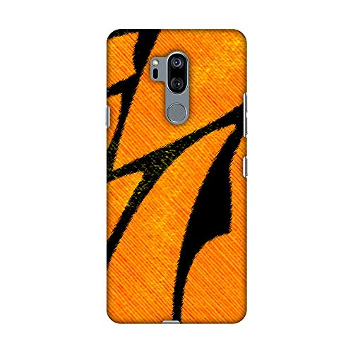 Hartschalen-Schutzhülle für LG G7, LG G7 ThinQ (handgefertigt, zum Aufstecken, Hartschale, Motiv Schmetterling, orangefarbene Glasfaser, sehr leichte Rückseite)