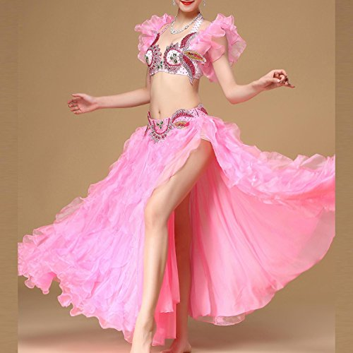 Belly Dance Kostüm Performance Outfit Lotus leaf Ärmel für Frauen mit Side Split Satin Long Swing Rock Set , Pink , (Tanz Kostüm Bei Der Hop)