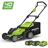 """Greenworks 40V Cordless Lawn Mower 41cm (16"""") with 2x 2Ah batteries and charger - 2504707UC"""