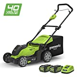 "Greenworks 40V Cordless Lawn Mower 41cm (16"") with 2x 2Ah batteries and charger"