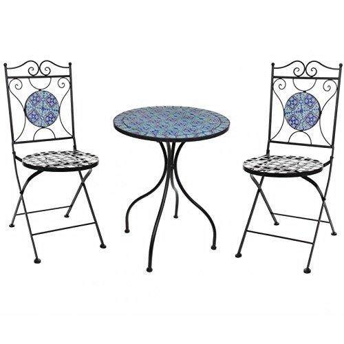 L'Héritier Du Temps L' erede del tempo salone di giardino con Sublime mosaico antico tavolo da bistrot E 2Sedie Pieghevoli In Acciaio Nero e motivi in ceramica blu