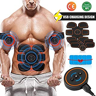 Openuye EMS Abs Trainer Muscle Stimulator Belt, Rechargeable Abdominal Muscle Toner Belt with Rhythm and Soft Impulse 60 Level Modes Design For Men and Women(Bonus 10x Replacement Gel Pads)