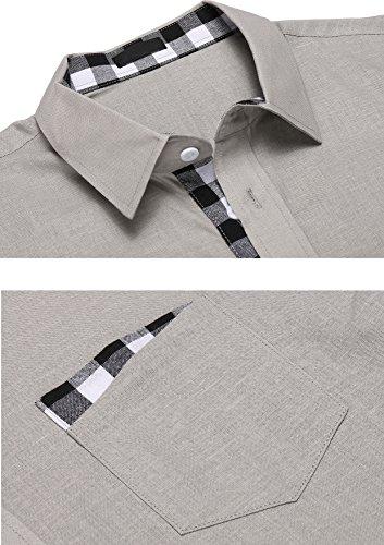 Burlady Hemd Herren Langarm Kentkragen aus Baumwolle Kariert Freizeit Männer Shirt Grau