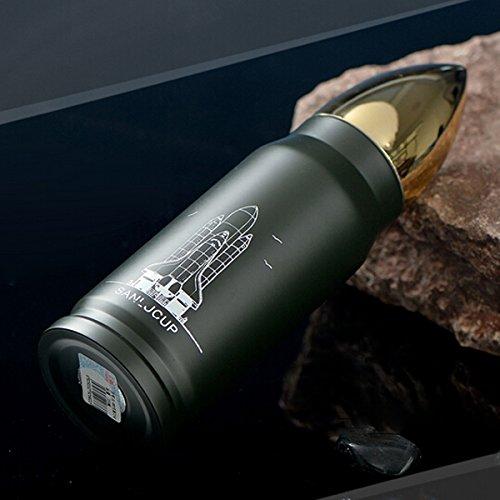 Aliciashouse Cool In Acciaio Inox Proiettile Thermos Travel Mug Isolamento 12H 350Ml Invernothermos Tazza - Verde Militare - Esercito Oro Coltello