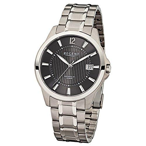 Regent f-555–Armbanduhr Herren, Armband aus Titan Farbe silber