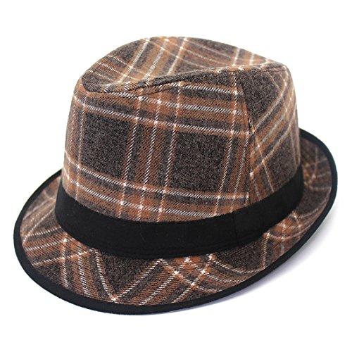 Lattice Hat Plaid Wool Hats Frühling und Herbst Winter New Unisex Woolen Hats Hut (Farbe : Kaffee, Size : 55-58cm) Plaid Wool Cap