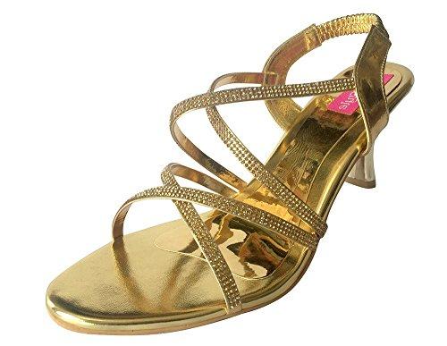 Étape N Style Femmes Talon Diamante chaussures Shimmer Party salwar kameez Chaussures Khusa jutti Or - doré