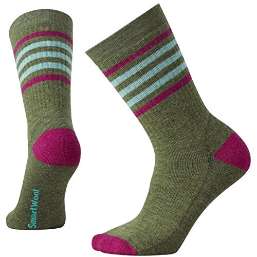 Smartwool Damen Women's Striped Hike M Crew Socke, Light Loden/Berry, S (Smartwool Socken Frauen Wandern)